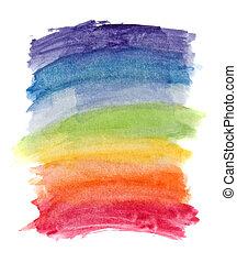 떼어내다, 수채화 물감, 무지개 색깔, 배경