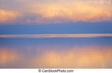 떼어내다, 아름다운, 빛, 바다, 여름, 배경