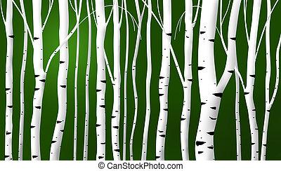 떼어내다, 자작나무, 배경, 은 김을 낸다