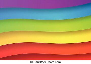 떼어내다, 종이, 무지개, 예술, 삽화, 다채로운, 배경, 벡터, 모양