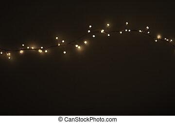 떼어내다, 크리스마스 빛, 통하고 있는, 검정, 배경., defocused, 빛을내는 전구, 화환,...