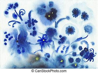 떼어내다, 파랑, 습기, 수채화 물감, 꽃