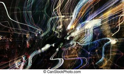 떼어내다, 패턴, 만든, 에서, 장면이다, 교통, 와..., 거리 장면, 발사, 밤에, 에서, 뉴욕