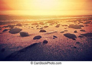 떼어내다, 해변., 일몰 전면 바다