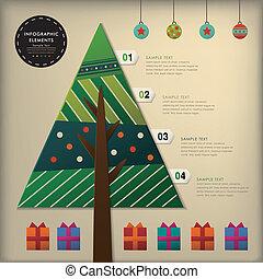 떼어내다, 3차원, 종이, 크리스마스 나무, infographics