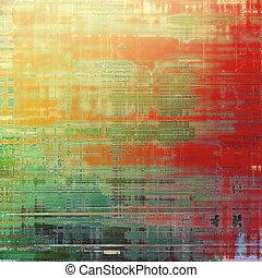 떼어내다, retro, 디자인, composition., 유행, grunge, 배경., 와, 다른, 색, patterns:, 황색, (beige);, brown;, green;, 빨강, (orange)
