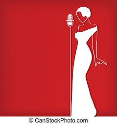 떼어내다, retro, 소녀, 통하고 있는, 빨강