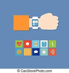 똑똑한, 시계, 기술, 전자 장치, apps, 아이콘, 세트, 은 선을 엷게 한다, 단일의, 다채로운, 수집