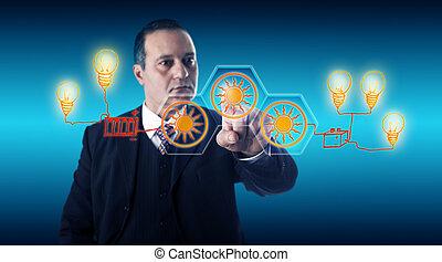 똑똑한, 실업가, 활성화, 태양 에너지, 버튼