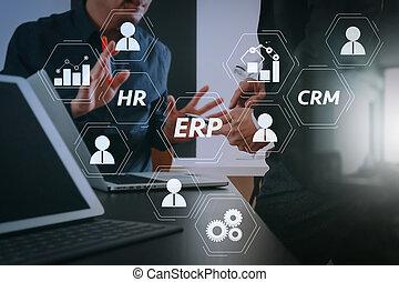 똑똑한, 정제, 디지털, 일, co, 실업가, 현대, 개념, 전화, 컴퓨터, 팀, 사무실, 을 사용하여, ...