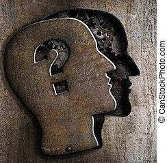 뚜껑, 금속, 물음표, 뇌, 인간, 열려라