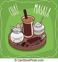 뚜껑, 주전자, 차, chai, 인도 사람, masala, 우유