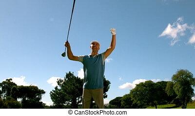 뛰는 것, 골프를 치는 사람, 황홀한, 위로 갈채를 보내는