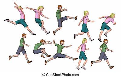 뛰는 것, 달리기, 아이들, render