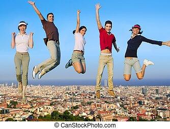 뛰는 것, 젊은이, 그룹, 통하고 있는, 도시, 건물