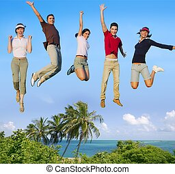 뛰는 것, 젊은이, 행복하다, 그룹, 열대 바닷가