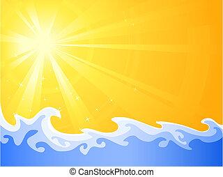 뜨거운, 여름, 태양, 와..., 가라앉히다, 몸을 나른하게 하는, wa