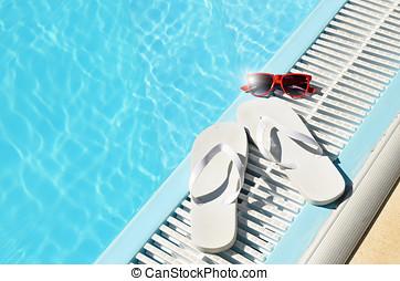 뜨거운, 태양, 여름, 개념, 에, 웅덩이