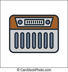 라디오, 아이콘, 색, 삽화, 디자인