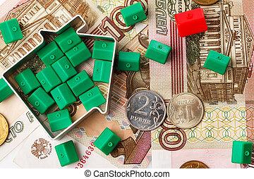러시아어, 집, rubles, 장난감, 작다