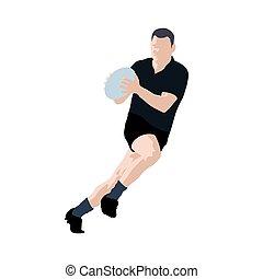 럭비 선수, 벡터, illustration., 달리기, 남자, 와, 공, 에서, hands., 검정, jersey., 팀 스포츠
