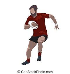 럭비 선수, 보유 공, 와..., 달리기, 벡터, 삽화