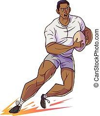 럭비 선수, 파악, 럭비, 와..., 달리기, 벡터, 만화, illustrtion.