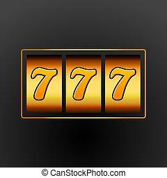 럭키 세븐, 777, 마룻바닥의 구멍 뚜껑, machine., 카지노, vegas, game., 노름하는, 행운, chance., 승리, 대성공, 돈