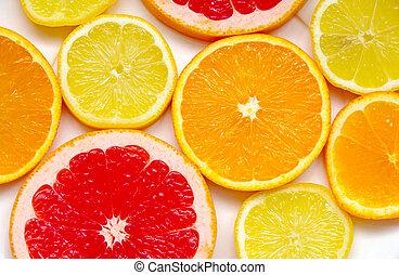 레몬, 그레이프프루트, 오렌지, 얇게 썰린다