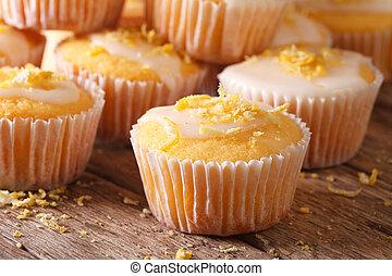 레몬, macro., 신선하의, 머핀, 서리로 덥음, 굽, 수평이다