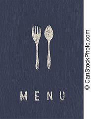 레스토랑, 체재, menu., a4, vector., 유행