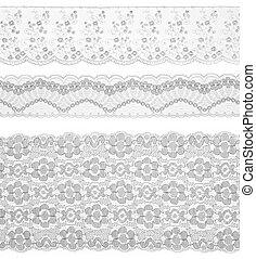 레이스, trims, 리본, 위의, white., 세트, 의, 수를 놓는, fabric., 클로우즈업