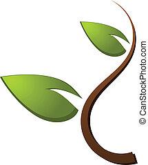 로고, 녹색 나무, 자연