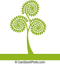 로고, 녹색 나무