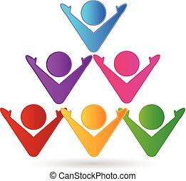 로고, 다채로운, 팀웍, 사업