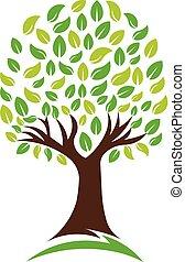 로고, 벡터, 녹색, 자연, 나무