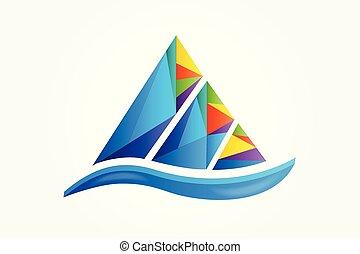로고, 산, 다채로운, 벡터