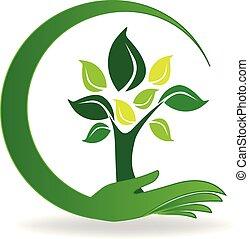 로고, 상징, 걱정, 나무, 손