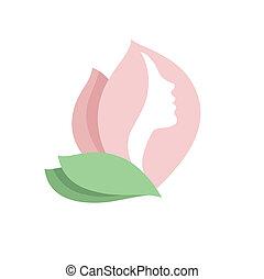 로고, 여자, 꽃봉오리, -vector