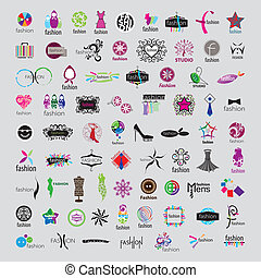 로고, 유행, 부속물, 수집, 벡터, 가장 크다, 의류
