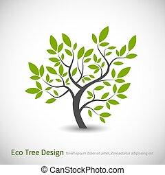 로고, 잎, 개념, 나무