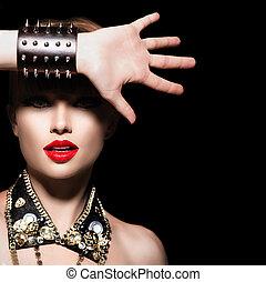로커, 스타일, 유행, 아름다움, 뒤떨어진, girl., 초상, 모델