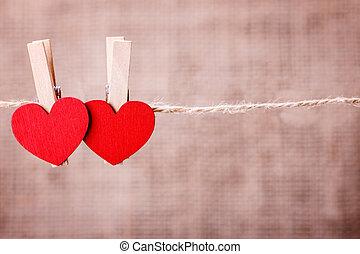로프, 심장, clothespin