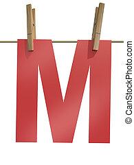 로프, m, 편지, clothespin