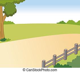 마을, 길, 와..., 나무