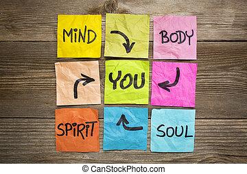 마음, 몸, 정신, 영혼, 와..., 당신