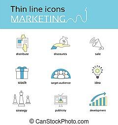 마케팅, 은 선을 엷게 한다, 아이콘, 세트, 수집
