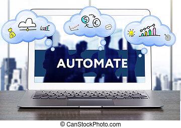 마케팅, strategy., 계획, 전략, concept., 사업, 기술, 인터넷, 와..., 네트워킹, concept., 은 자동화한다