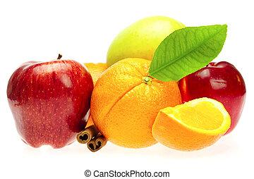 막대기, 고립된, 육계피, 사과, 백색, 오렌지