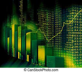 막대기, 사업, 그래프, 도표, 시장, 주식